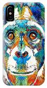Colorful Chimp Art - Monkey Business - By Sharon Cummings IPhone Case