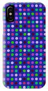 Colorful Polka Dots On Blue Fabric Background IPhone Case
