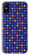 Colorful Polka Dots On Dark Blue Fabric Background IPhone Case