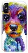 Colorful Whimsical Daschund Dog Puppy Art IPhone X Case