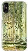 Columns And Hindu Devatas At Angkor Wat In Angkor Wat Archeological Park Near Siem Reap-cambodia IPhone Case