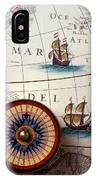 Compass And Old Map With Ships IPhone Case