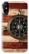 Compass On Wooden Folk Art Flag IPhone Case