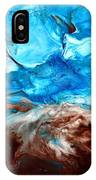 Contemporary Blue Abstract Art Fluid Painting-rapid By Kredart IPhone Case