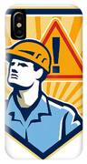 Contractor Construction Worker Caution Sign Retro IPhone Case