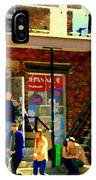 Corner Laurier Marche Maboule Depanneur Summer Stroll With Baby Carriage Montreal Street Scene IPhone Case