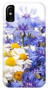 Cornflower And Chamomile Bunch Blooms  IPhone Case