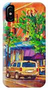 Corona Theatre Presents The Burgundy Lion Rue Notre Dame Montreal Street Scene By Carole Spandau IPhone Case