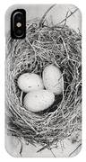 Cottage Bird's Nest In Black And White IPhone Case