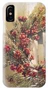 Country Wreath With Red Berries IPhone Case
