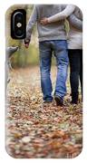 Couple And Dog Autumn Or Fall IPhone Case