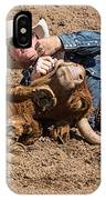 Cowboy Has Steer By Horn IPhone Case