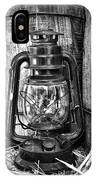 Cowboy Themed Wood Barrels And Lantern In Black And White IPhone Case