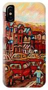 Crescent Street Family Stroll  Montreal City In Autumn City Scene Paintings Carole Spandau IPhone Case