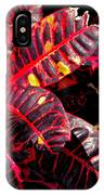 Croton Leaves In Black And Red IPhone Case