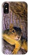 Cute Fuzzy Squirrel In Tree Near Garden IPhone Case