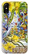 Daffodils Antique Jugs Plates Textiles And Lace IPhone Case