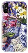 Daffodils Tulips And Iris In A Jacobean Blue And White Jug With Sanderson Fabric And Primroses IPhone X Case