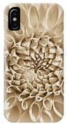 Dahlia Flower Star Burst Sepia IPhone Case