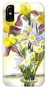 Daisies With Yellow Irises IPhone Case