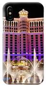 Dancing Waters - Bellagio Hotel And Casino At Night IPhone Case