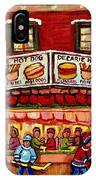 Decarie Hot Dog Restaurant Cosmix Comic Store Montreal Paintings Hockey Art Winter Scenes C Spandau IPhone Case