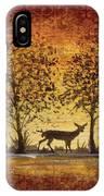 Deer At Sunset On Damask IPhone Case