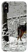 Deer On Snowy Trail IPhone X Case