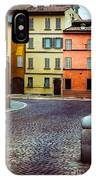 Deserted Street With Colored Houses In Parma Italy IPhone Case