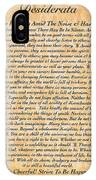 Desiderata Poster On Antique Embossed Wood Paper IPhone Case