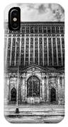 Detroit's Abandoned Michigan Central Train Station Depot In Black And White IPhone Case