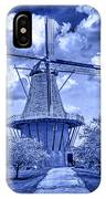 deZwaan Holland Windmill in Delft Blue IPhone Case