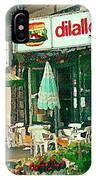Dilallo Burger Diner Paintings Originalclassic Vintage Burger Joint St Henri St Catherine Cityscene  IPhone Case