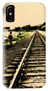 Dog Walk Along The Wayzata Train Tracks IPhone Case