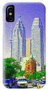 Downtown Core Flatiron Building And Cn Tower Toronto City Scenes Paintings Canadian Art Cspandau IPhone Case