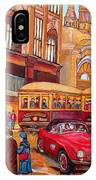 Downtown Montreal-streetcars-couple Near Red Fifties Mustang-montreal Vintage Street Scene IPhone Case
