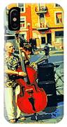 Downtown Street Musicians Perform At The Coffee Shop With Cool Tones On A Hot Summer Day IPhone Case