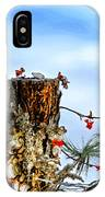 Downy And Titmouse Playing On Lichen Stump IPhone Case