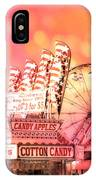 Surreal Hot Pink Orange Carnival Festival Cotton Candy Stand Candy Apples Ferris Wheel Art IPhone Case