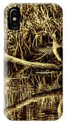 drying cormorant BW- Black bird sitting on log over water IPhone Case