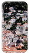 Dubrovnik Rooftops Domes And North East Walls Against The Mountains From The Sea Walls IPhone Case
