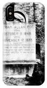 Edgar Allen Poe Grave Site Baltimore IPhone Case