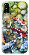Eight Koi Fish Playing With Bubbles IPhone Case