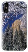 El Capitan Framed By Snow Covered Black Oaks California IPhone Case