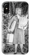 Elderly Shopper Statue Key West - Black And White IPhone Case