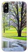 Empty Walkway On A Beautiful Rainy Autumn Day IPhone Case