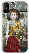 faithful Buddhist monk praying at Buddha Statues in SHWEDAGON PAGODA IPhone Case