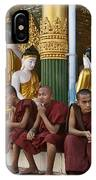 faithful Buddhist monks siiting around Buddha Statues in SHWEDAGON PAGODA IPhone Case
