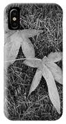 Fallen Autumn Leaves In The Grass During Morning Frost IPhone Case