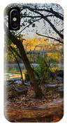 Fallen Log On River Path IPhone Case